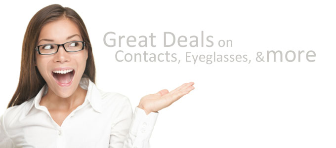 Great deals on contact lenses, eyeglasses, and more.